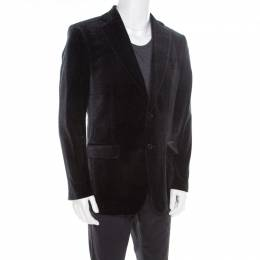Salvatore Ferragamo Charcoal Grey Printed Velvet Blazer XL 186178