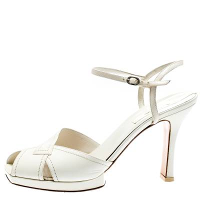 Baldinini White Leather Ankle Strap Sandals Size 39 184042 - 1
