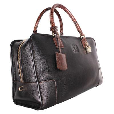 Loewe Dark Brown Leather/Lizard Amazona 36 Satchel Bag 109896 - 1