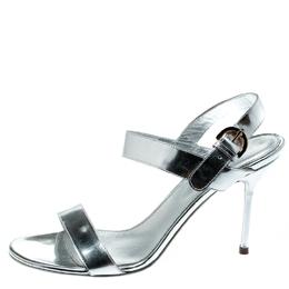 Sergio Rossi Metallic Silver Open Toe Ankle Strap Sandals Size 37 192590