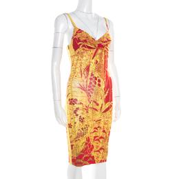 Just Cavalli Red and Yellow Printed Jersey Sleeveless Midi Dress S 186476