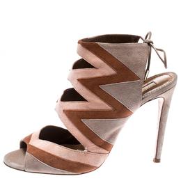 Aquazzura Tricolor Suede Frankie Open Toe Sandals Size 38 187006