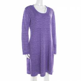 M Missoni Purple Chevron Pattern Perforated Knit Long Sleeve Dress L 187196
