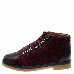 Chanel Burgundy Tweed And Leather CC Cap Toe High Top Sneakers Size 37
