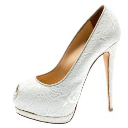 Giuseppe Zanotti Design White Lace And Glitter Peep Toe Platform Pumps Size 38 184870