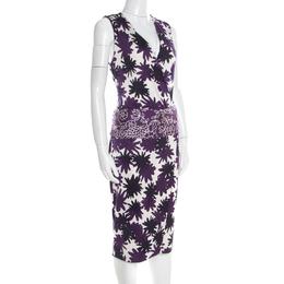 Diane Von Furstenberg Purple Asterisk Meadow Printed Silk Jersey Sirena Dress M 192863