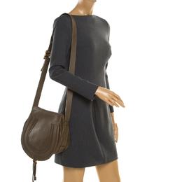 Chloe Khaki Green Leather Medium Marcie Crossbody Bag 187183