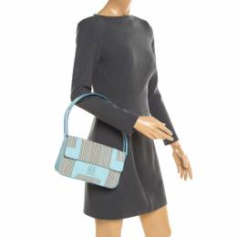 Givenchy Powder Blue Stripped Canvas and Leather Shoulder Bag 188438