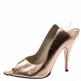 Gucci Metallic Rose Gold Leather Peep Toe Backstrap Sandals Size 37.5 192846