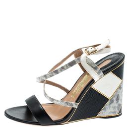Salvatore Ferragamo Black Lizard Leather Gris Open Toe Cross Strap Wedge Sandals Size 37.5 192831
