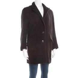 Isabel Marant Etoile Black and Burgundy Wool and Alpaca Textured Coat S