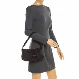 Fendi Black Zucchino Canvas and Leather Mama Baguette Shoulder Bag 188533