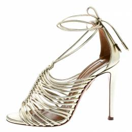 Aquazzura Metallic Gold Leather Strappy Sandals Size 35 192894