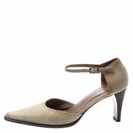 Gucci Beige Suede Pointed Toe D'orsay Pumps Size 38.5 193300