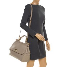 Dolce & Gabbana Taupe Leather Medium Miss Sicily Top Handle Bag 185399