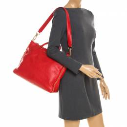 Givenchy Red Leather Zip Detail Top Handle Bag 185291