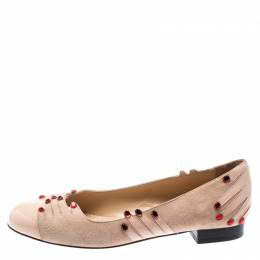 Charlotte Olympia Beige Suede And Patent Leather Embellished Manipedi Ballet Flats 37