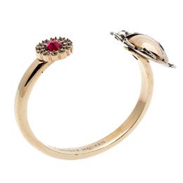 Alexander McQueen Gold Tone Crystal Embellished Beetle Cuff Bracelet S 193745