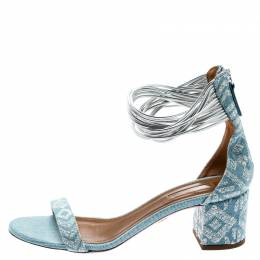 Aquazzura Light Blue Embroidery Demin Spin Me Around Strappy Sandals Size 39 193298