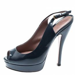 Gucci Grey Patent Leather Peep Toe Slingback Sandals Size 35.5 192828