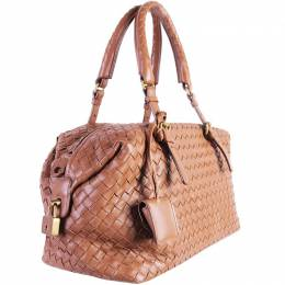 Bottega Veneta Brown Leather Intrecciato Montaigne Bag 188286