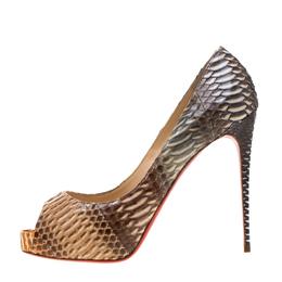 Christian Louboutin Beige Python Leather Suellena Peep Toe Platform Pumps Size 38.5