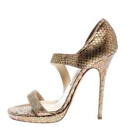 Jimmy Choo Gold Python Leather Open Toe Platform Sandals Size 38