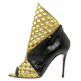 Christian Louboutin Black and Gold Python Bougliona Cage Ankle Boots Size 38.5 92726