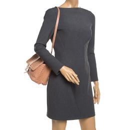 Bottega Veneta Pale Orange Intrecciato Leather Double Sided Flap Shoulder Bag 193787