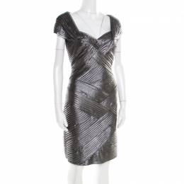 Tadashi Shoji Metallic Pintucked Pleat Detail Embellished Dress M