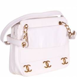 Chanel White Cavier CC Logo Chain Shoulder Bag 187979