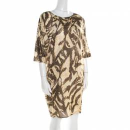 Emilio Pucci Brown and Beige Foil Printed Silk Long Sleeve Dress S 193831
