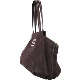 Fendi Dark Brown Leather Large Tote Bag 188290