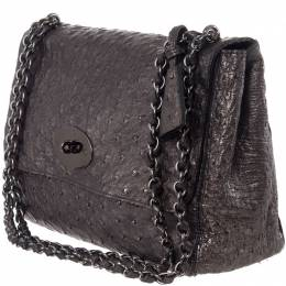 Mulbery Grey Ostrich Skin Leather Bayswater Satchel Bag Mulberry 188363