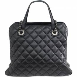 Chanel Black Quilted Leather With CC Logo Shoulder Bag 188637