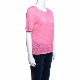 Marc Jacobs Pink Rib Trim Perforated Cotton Knit Top M 141226
