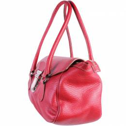 Dolce & Gabbana Red Leather With Buckle Claps Shoulder Bag 188746