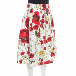 Dolce & Gabbana White and Red Floral Printed Cotton and Silk Pleated Skirt M 194078