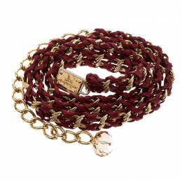 Dolce & Gabbana Red Interwoven Leather Gold Tone Chain Belt 194222