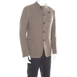 Armani Collezioni Brown and Grey Textured Wool Mandarin Collar Blazer XL 194058
