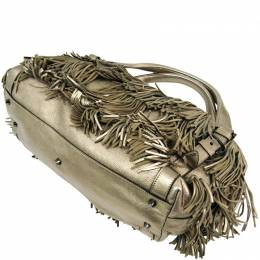 Burberry Metallic Beige Leather Fringe Shoulder Bag 193483