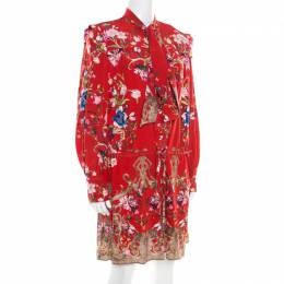 Roberto Cavalli Red Floral Foil Print Silk Crepe de Chine Dress M 194175