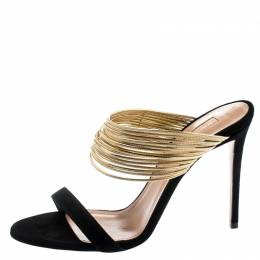 Aquazzura Metallic Gold Leather And Black Suede Rendez Vous Sandals Size 40 194166