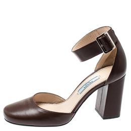 Prada Brown Leather Block Heel Ankle Strap Sandals Size 36.5