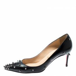 Christian Louboutin Black Leather Degraspike Pointed Toe Pumps Size 36 194316