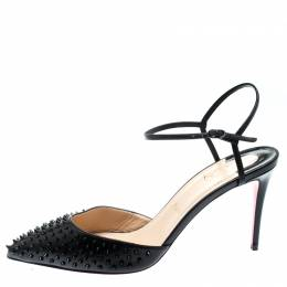 Christian Louboutin Black Leather Spike Baila Ankle Strap Sandals Size 40.5 194312