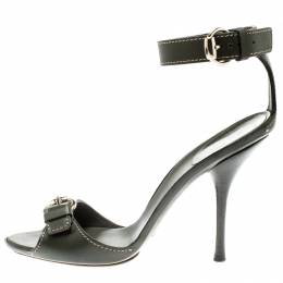 Gucci Green Leather Buckle Detail Ankle Strap Sandals Size 41.5 194673