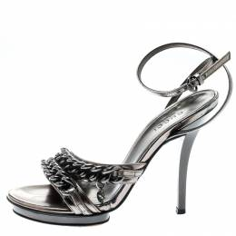 Gucci Metallic Grey Leather GG Chain Detail Ankle Wrap Sandals Size 34 194079