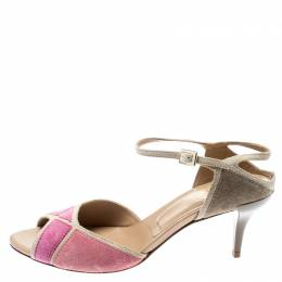 Roger Vivier Pink And Beige Suede Peep Toe Ankle Strap Sandals Size 37