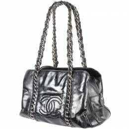 Chanel Black Patent Leather Tote Bag 187487